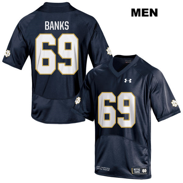 Stitched Aaron Banks Notre Dame Fighting Irish no. 69 Under Armour Mens Navy Authentic College Football Jersey - With Name - Aaron Banks Jersey