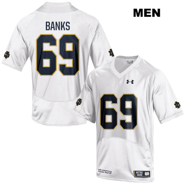 Stitched Aaron Banks Notre Dame Fighting Irish no. 69 Under Armour Mens White Authentic College Football Jersey - With Name - Aaron Banks Jersey