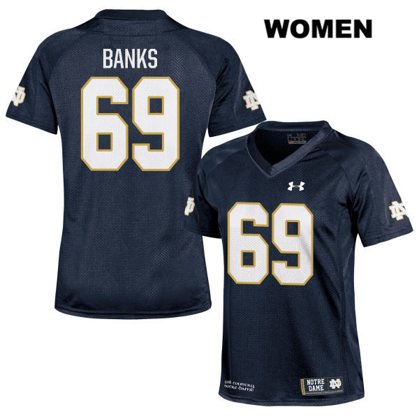 Aaron Banks Under Armour Stitched Notre Dame Fighting Irish no. 69 Womens Navy Authentic College Football Jersey - With Name - Aaron Banks Jersey