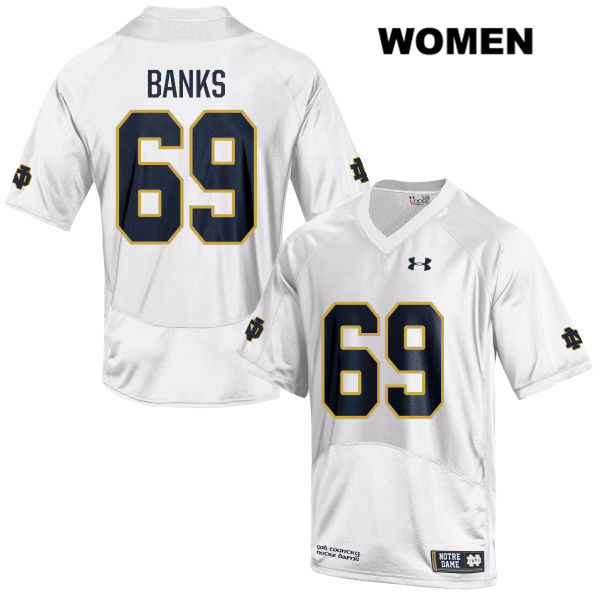 Aaron Banks Notre Dame Fighting Irish no. 69 Under Armour Womens White Stitched Authentic College Football Jersey - With Name - Aaron Banks Jersey