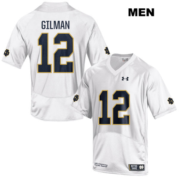 Under Armour Alohi Gilman Notre Dame Fighting Irish no. 12 Mens Stitched White Authentic College Football Jersey - With Name - Alohi Gilman Jersey