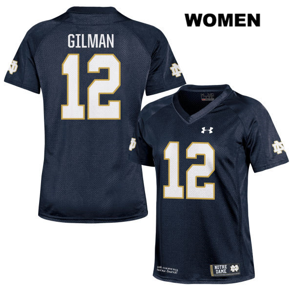 Under Armour Alohi Gilman Notre Dame Fighting Irish Stitched no. 12 Womens Navy Authentic College Football Jersey - With Name - Alohi Gilman Jersey