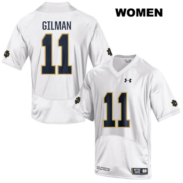 Alohi Gilman Notre Dame Fighting Irish Under Armour no. 11 Stitched Womens White Authentic College Football Jersey - Alohi Gilman Jersey