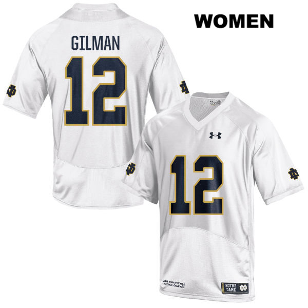Alohi Gilman Notre Dame Fighting Irish no. 12 Stitched Womens Under Armour White Authentic College Football Jersey - With Name - Alohi Gilman Jersey