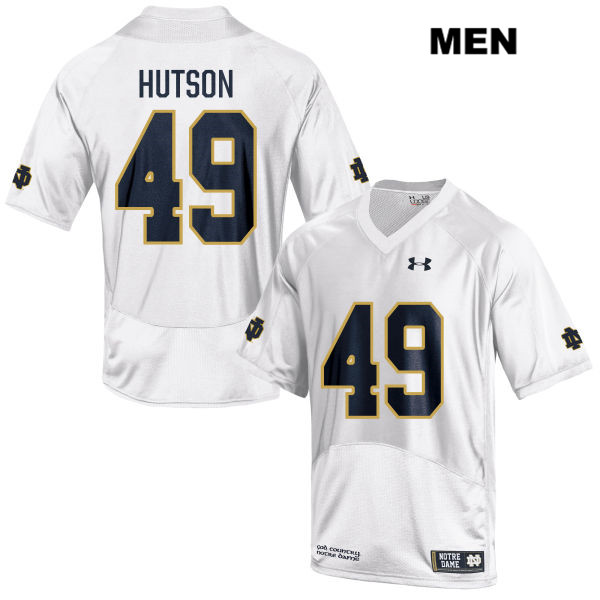 Brandon Hutson Notre Dame Fighting Irish Stitched no. 49 Mens Under Armour White Authentic College Football Jersey - With Name - Brandon Hutson Jersey