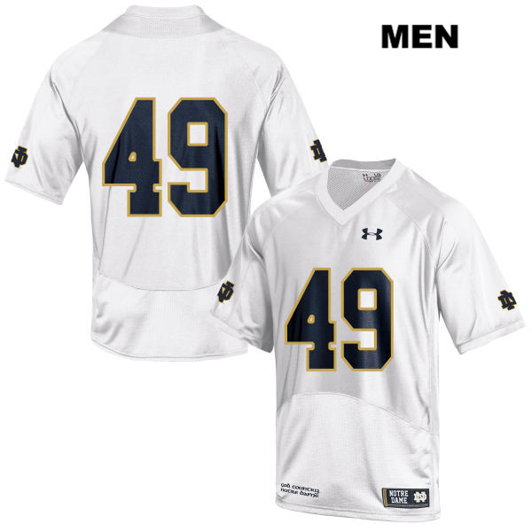 Brandon Hutson Notre Dame Fighting Irish no. 49 Mens White Stitched Under Armour Authentic College Football Jersey - Brandon Hutson Jersey