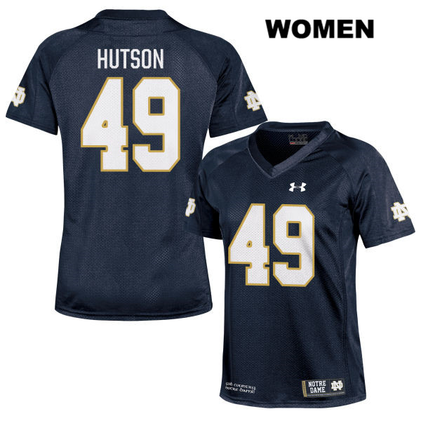 Stitched Brandon Hutson Notre Dame Fighting Irish no. 49 Womens Under Armour Navy Authentic College Football Jersey - With Name - Brandon Hutson Jersey