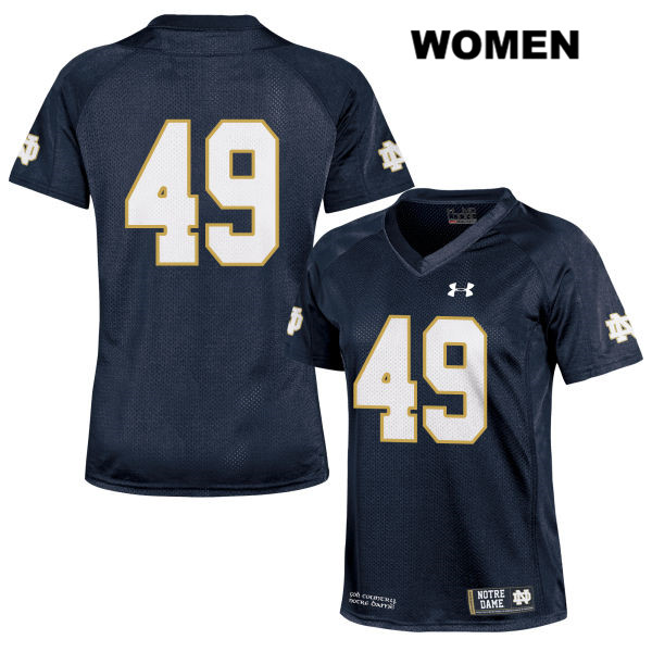 Brandon Hutson Notre Dame Fighting Irish Stitched no. 49 Womens Under Armour Navy Authentic College Football Jersey - Brandon Hutson Jersey