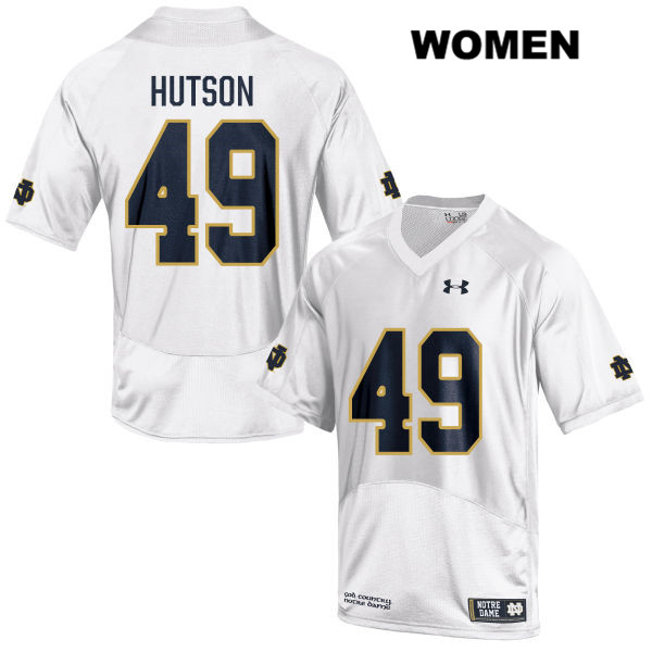 Brandon Hutson Under Armour Notre Dame Fighting Irish no. 49 Womens White Stitched Authentic College Football Jersey - With Name - Brandon Hutson Jersey