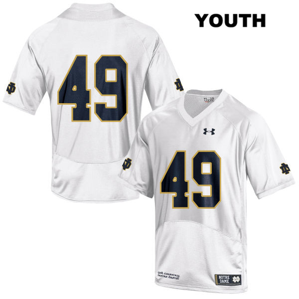 Stitched Brandon Hutson Notre Dame Fighting Irish no. 49 Under Armour Youth White Authentic College Football Jersey - Brandon Hutson Jersey