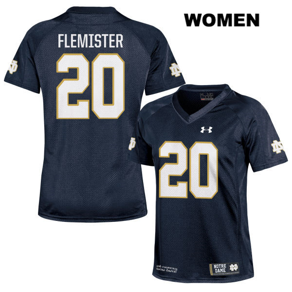 C'Bo Flemister Under Armour Notre Dame Fighting Irish Stitched no. 20 Womens Navy Authentic College Football Jersey - C'Bo Flemister Jersey