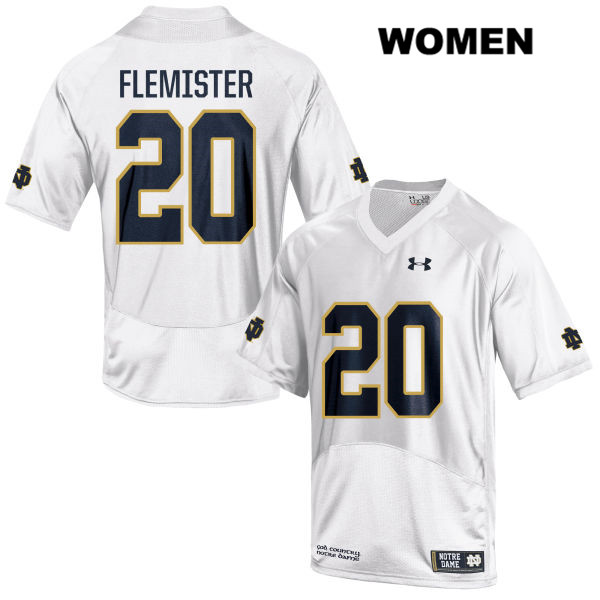 C'Bo Flemister Notre Dame Fighting Irish no. 20 Womens Stitched White Under Armour Authentic College Football Jersey - C'Bo Flemister Jersey