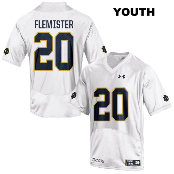 Under Armour C'Bo Flemister Notre Dame Fighting Irish no. 20 Youth Stitched White Authentic College Football Jersey - C'Bo Flemister Jersey