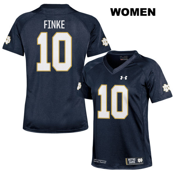 Chris Finke Notre Dame Fighting Irish no. 10 Womens Under Armour Navy Stitched Authentic College Football Jersey - With Name - Chris Finke Jersey