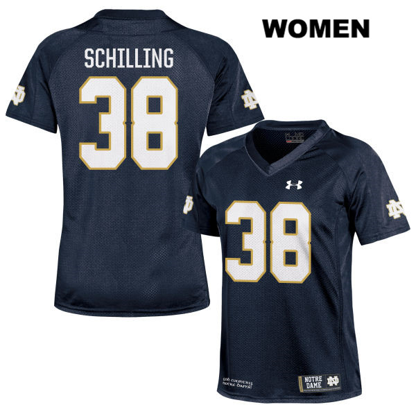 Under Armour Christopher Schilling Stitched Notre Dame Fighting Irish no. 38 Womens Navy Authentic College Football Jersey - With Name - Christopher Schilling Jersey