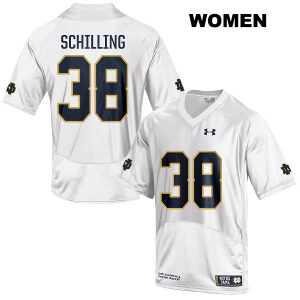 Christopher Schilling Notre Dame Fighting Irish no. 38 Under Armour Womens White Stitched Authentic College Football Jersey - With Name - Christopher Schilling Jersey