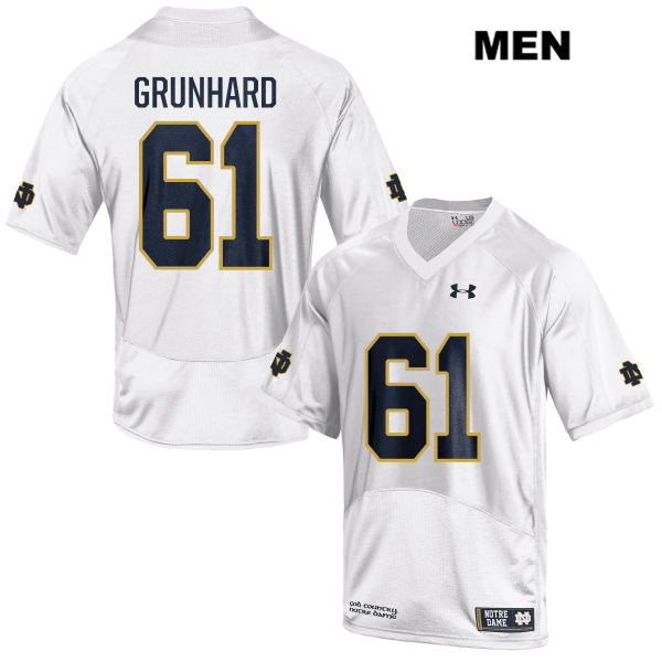 Colin Grunhard Stitched Notre Dame Fighting Irish Under Armour no. 61 Mens White Authentic College Football Jersey - With Name - Colin Grunhard Jersey