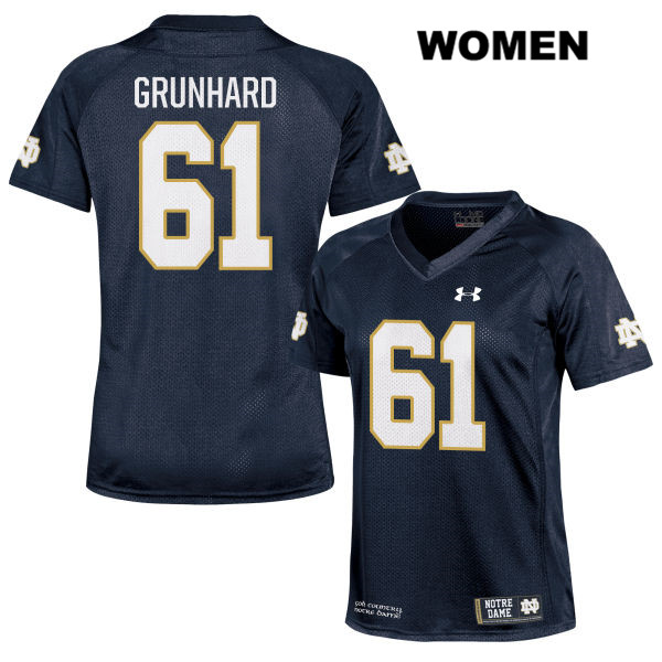 Colin Grunhard Notre Dame Fighting Irish no. 61 Under Armour Womens Stitched Navy Authentic College Football Jersey - With Name - Colin Grunhard Jersey