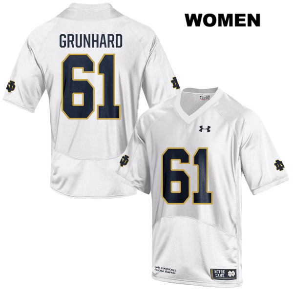 Under Armour Colin Grunhard Stitched Notre Dame Fighting Irish no. 61 Womens White Authentic College Football Jersey - With Name - Colin Grunhard Jersey