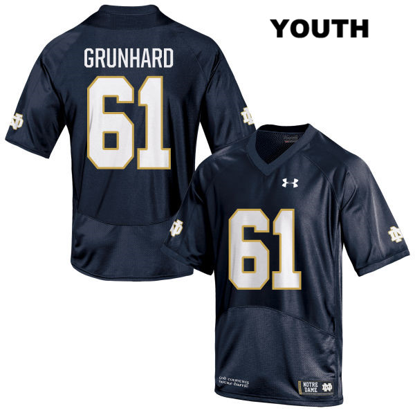 Colin Grunhard Notre Dame Fighting Irish no. 61 Youth Under Armour Stitched Navy Authentic College Football Jersey - With Name - Colin Grunhard Jersey