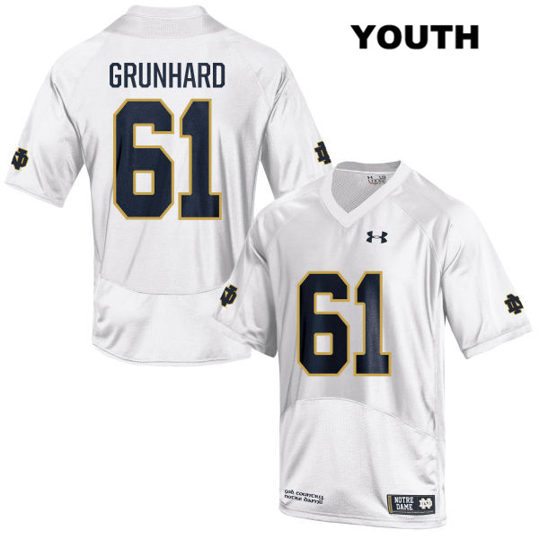 Colin Grunhard Notre Dame Fighting Irish no. 61 Under Armour Youth Stitched White Authentic College Football Jersey - With Name - Colin Grunhard Jersey