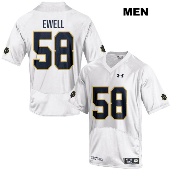 Darnell Ewell Stitched Notre Dame Fighting Irish no. 58 Mens White Under Armour Authentic College Football Jersey - Darnell Ewell Jersey