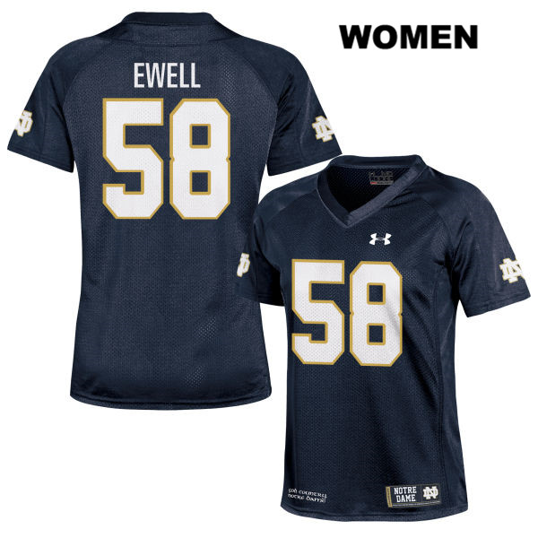 Darnell Ewell Under Armour Notre Dame Fighting Irish no. 58 Stitched Womens Navy Authentic College Football Jersey - Darnell Ewell Jersey