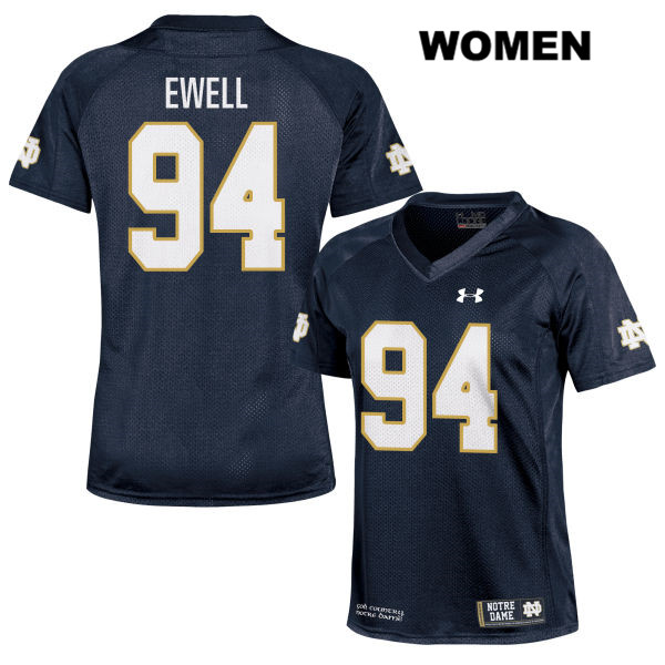 Darnell Ewell Stitched Notre Dame Fighting Irish no. 94 Womens Navy Under Armour Authentic College Football Jersey - With Name - Darnell Ewell Jersey