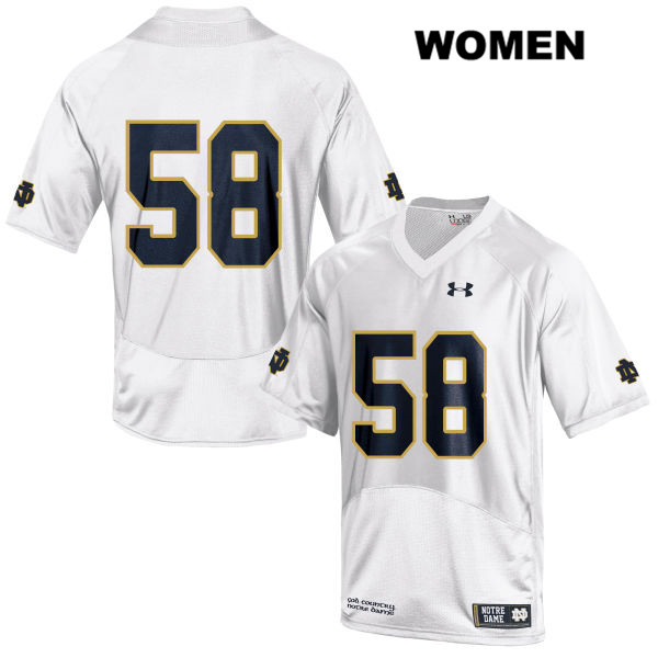 Stitched Darnell Ewell Under Armour Notre Dame Fighting Irish no. 58 Womens White Authentic College Football Jersey - No Name - Darnell Ewell Jersey