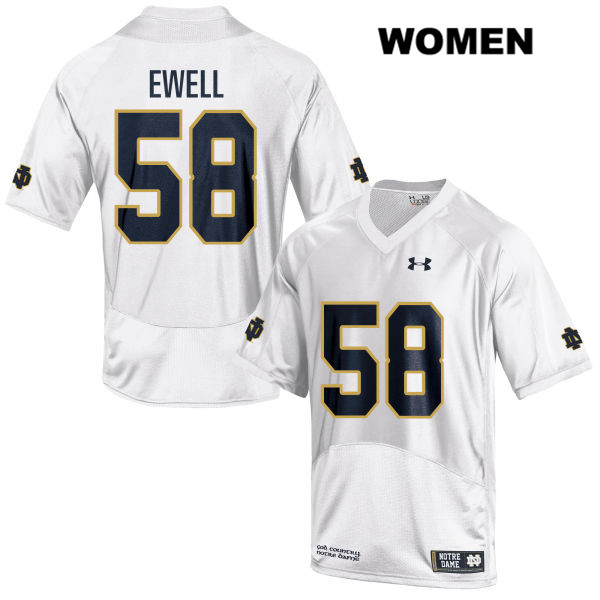 Under Armour Darnell Ewell Notre Dame Fighting Irish no. 58 Womens Stitched White Authentic College Football Jersey - Darnell Ewell Jersey