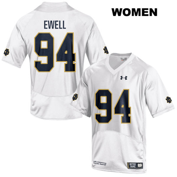 Darnell Ewell Notre Dame Fighting Irish no. 94 Womens Stitched Under Armour White Authentic College Football Jersey - With Name - Darnell Ewell Jersey