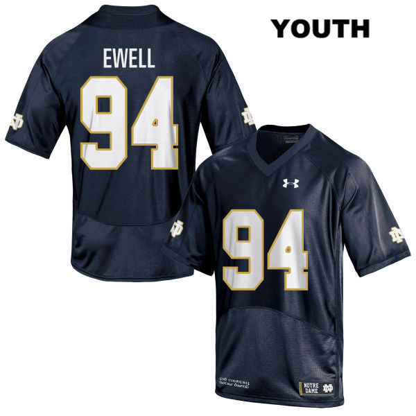 Darnell Ewell Notre Dame Fighting Irish Stitched no. 94 Youth Navy Under Armour Authentic College Football Jersey - With Name - Darnell Ewell Jersey