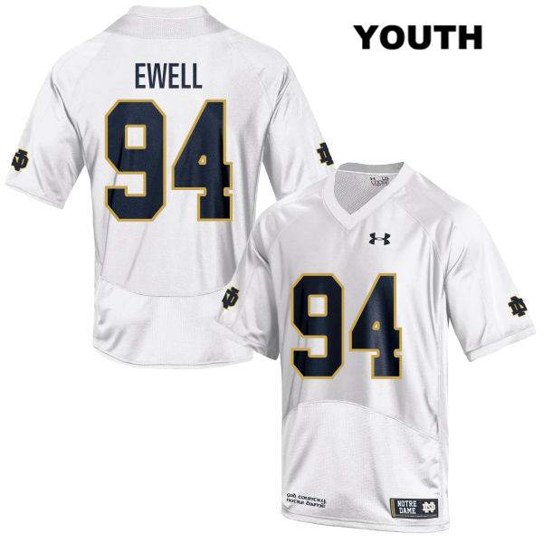Darnell Ewell Stitched Notre Dame Fighting Irish no. 94 Under Armour Youth White Authentic College Football Jersey - With Name - Darnell Ewell Jersey