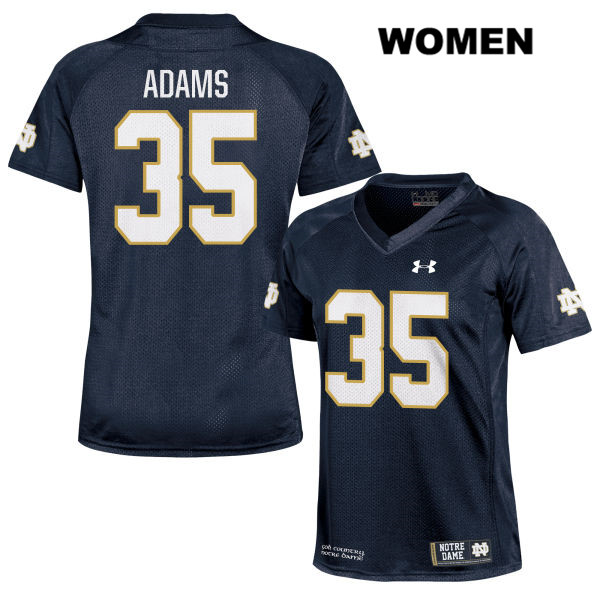 Stitched David Adams Under Armour Notre Dame Fighting Irish no. 35 Womens Navy Authentic College Football Jersey - With Name - David Adams Jersey