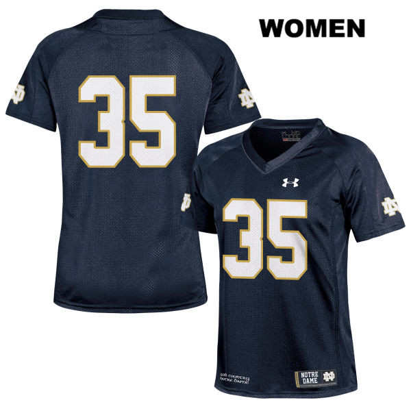 David Adams Notre Dame Fighting Irish Stitched no. 35 Womens Navy Under Armour Authentic College Football Jersey - David Adams Jersey
