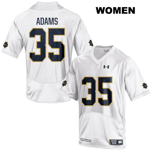 David Adams Stitched Notre Dame Fighting Irish no. 35 Under Armour Womens White Authentic College Football Jersey - With Name - David Adams Jersey