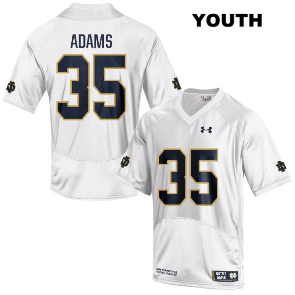 David Adams Under Armour Notre Dame Fighting Irish Stitched no. 35 Youth White Authentic College Football Jersey - With Name - David Adams Jersey