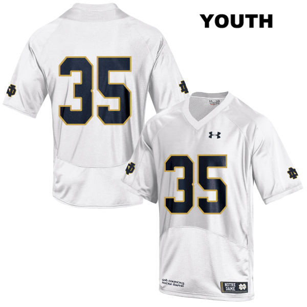 Stitched David Adams Notre Dame Fighting Irish no. 35 Youth Under Armour White Authentic College Football Jersey - David Adams Jersey