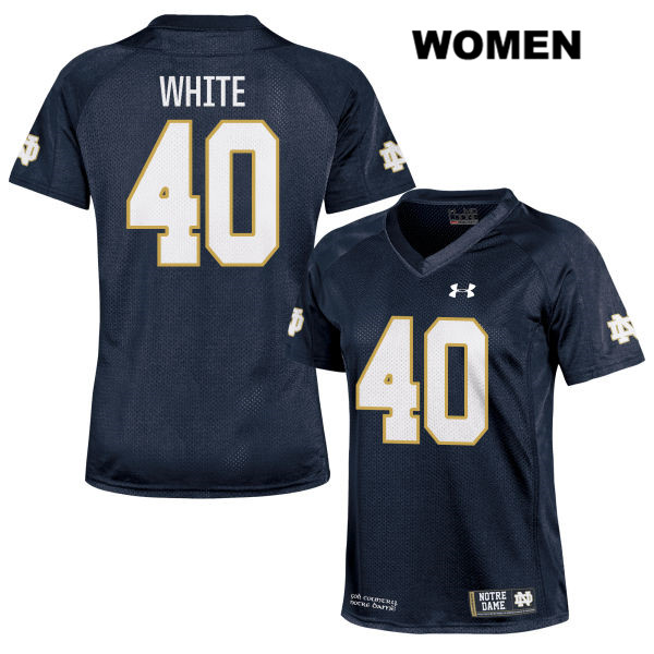 Drew White Under Armour Notre Dame Fighting Irish no. 40 Womens Navy Stitched Authentic College Football Jersey - With Name - Drew White Jersey