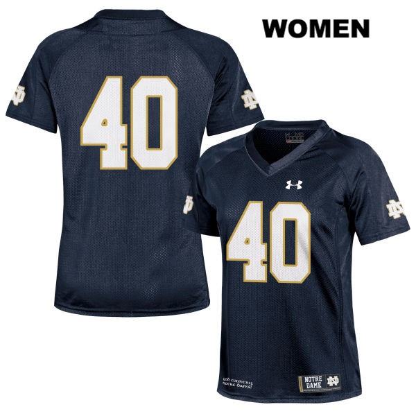 Drew White Notre Dame Fighting Irish no. 40 Under Armour Womens Stitched Navy Authentic College Football Jersey - Drew White Jersey