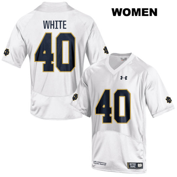Drew White Under Armour Notre Dame Fighting Irish no. 40 Stitched Womens White Authentic College Football Jersey - With Name - Drew White Jersey