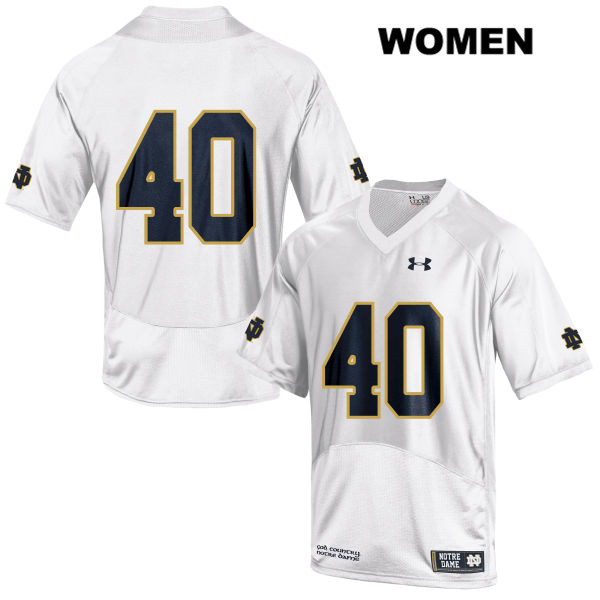 Drew White Notre Dame Fighting Irish Stitched Under Armour no. 40 Womens White Authentic College Football Jersey - Drew White Jersey