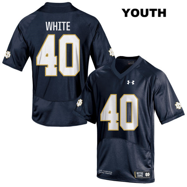 Drew White Under Armour Notre Dame Fighting Irish no. 40 Stitched Youth Navy Authentic College Football Jersey - With Name - Drew White Jersey