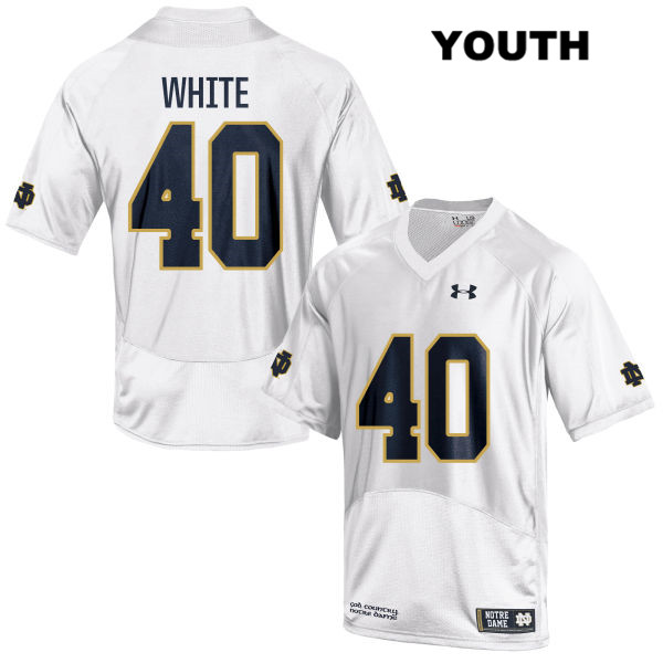 Drew White Stitched Notre Dame Fighting Irish no. 40 Youth Under Armour White Authentic College Football Jersey - With Name - Drew White Jersey