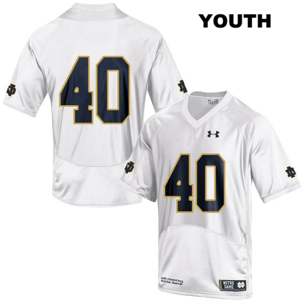 Stitched Drew White Notre Dame Fighting Irish no. 40 Youth Under Armour White Authentic College Football Jersey - Drew White Jersey