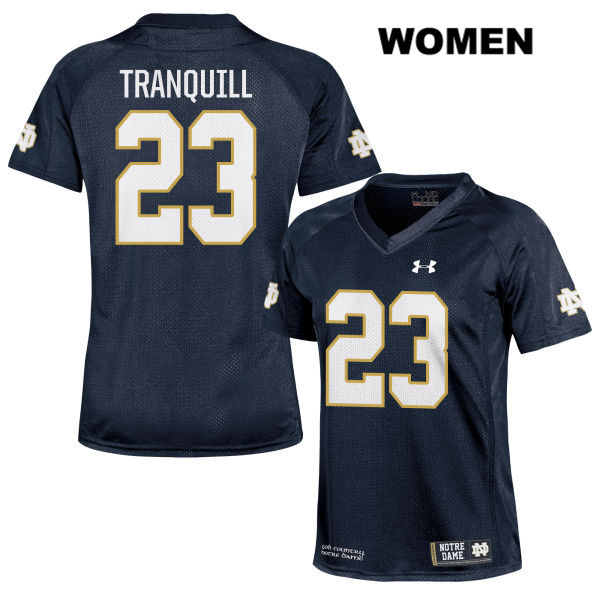 Drue Tranquill Under Armour Notre Dame Fighting Irish no. 23 Womens Navy Stitched Authentic College Football Jersey - With Name - Drue Tranquill Jersey