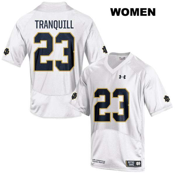 Under Armour Drue Tranquill Notre Dame Fighting Irish no. 23 Womens Stitched White Authentic College Football Jersey - With Name - Drue Tranquill Jersey