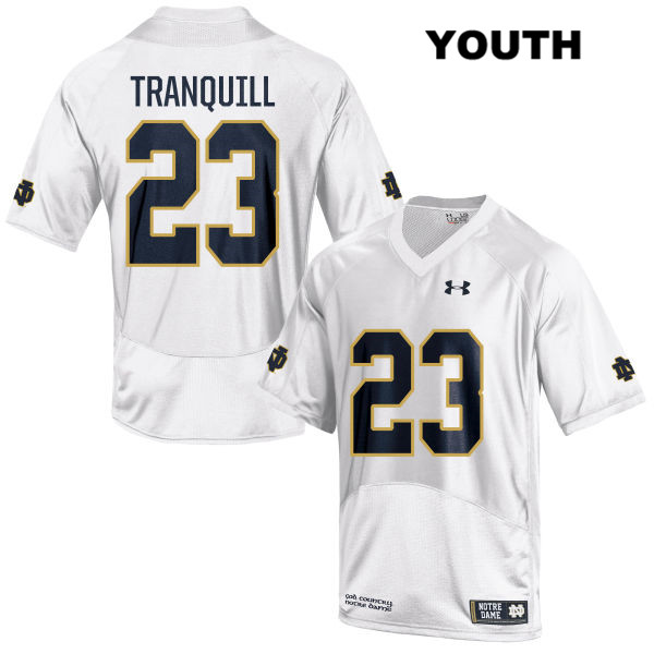 Drue Tranquill Notre Dame Fighting Irish Under Armour no. 23 Youth White Stitched Authentic College Football Jersey - With Name - Drue Tranquill Jersey