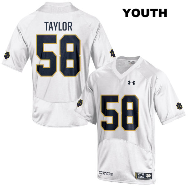Elijah Taylor Stitched Notre Dame Fighting Irish no. 58 Youth Under Armour White Authentic College Football Jersey - With Name - Elijah Taylor Jersey
