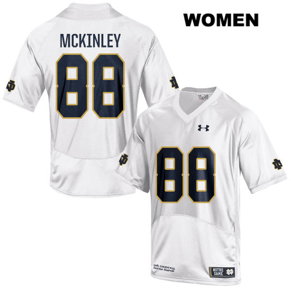 Javon McKinley Notre Dame Fighting Irish no. 88 Stitched Womens Under Armour White Authentic College Football Jersey - With Name - Javon McKinley Jersey